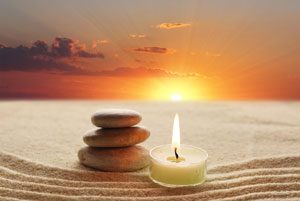 image of calming stones and candle